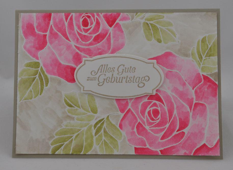 Geburtstagskarte mit Rose 1
