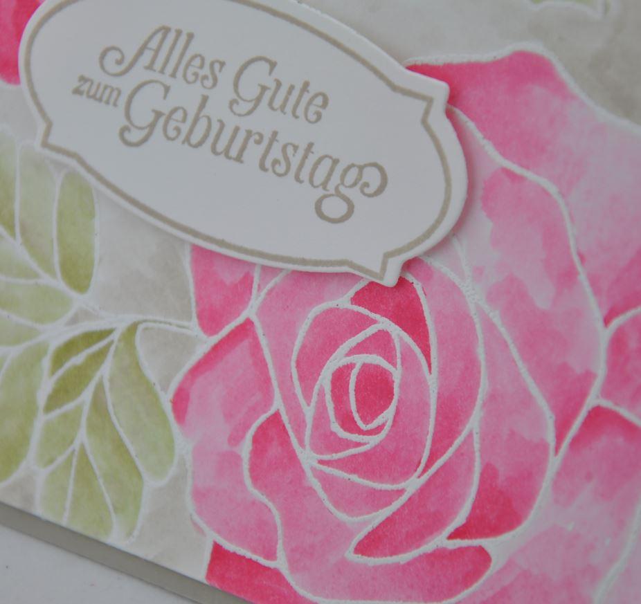 Geburtstagskarte mit Rose 2