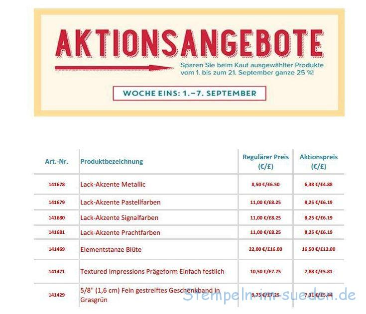 Aktionsangebot 1. bis 7. September
